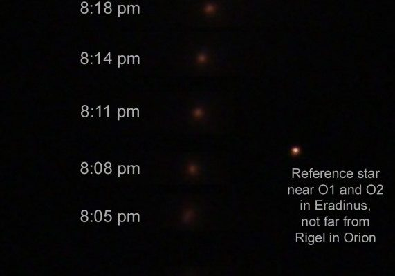 Comet Lovejoy Time Sequence